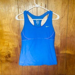 Nike Blue Racerback Built-in Bra Tank Top Medium